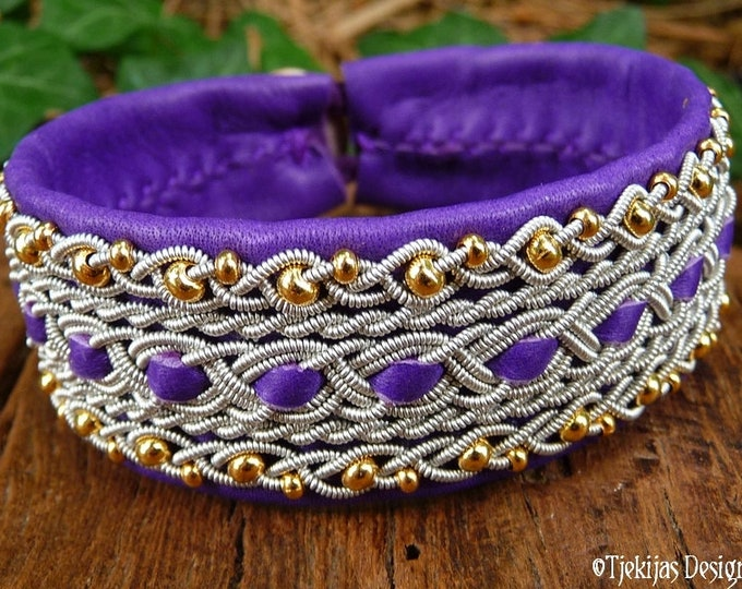 Sami Boho Bracelet, DANA Celtic cuff, handmade with 14k gold and pewter braids on purple reindeer leather
