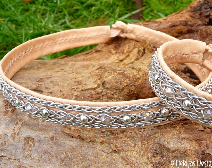 Viking necklace YDUN, natural leather Sami collier with silver and crystal in pewter braids, handmade to your size and color