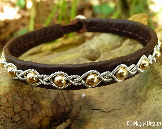 Shieldmaidens 14k gold and brown leather bracelet, Sami armband handmade to your wishes, GJALL
