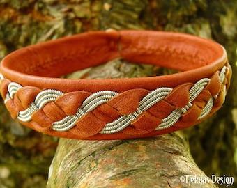 Unisex Lapland Sapmi leather and pewter bracelet FENRIS WOLF