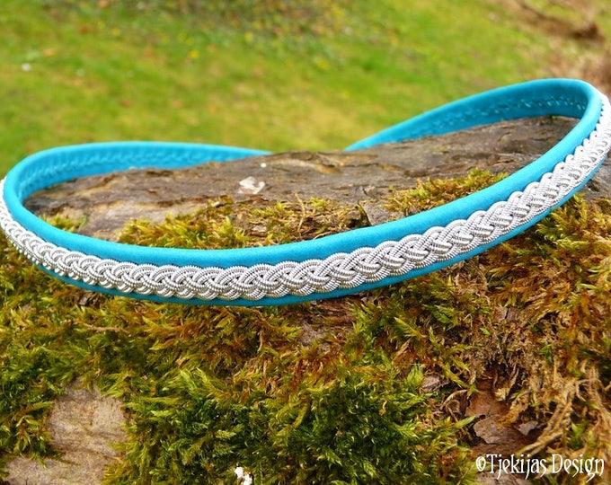 ASGARD leather necklace, viking choker in turquoise reindeer skin and pewter braid, custom handmade traditional Swedish Sami jewelry