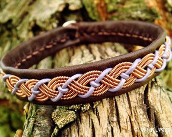 Viking leather Sami bracelet VALHAL, copper braid, lavender and brown deerskin cuff, with antler closure