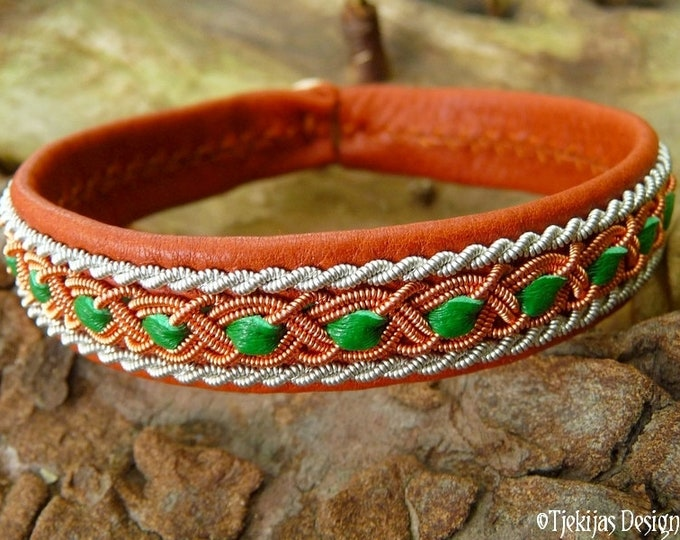 Viking Sami bracelet, FREY celtic leather cuff, handmade with copper and pewter braids on bark brown deerskin