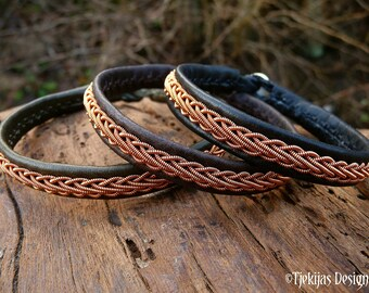 Copper viking leather Sami bracelet THOR, Scandinavian Folklore jewelry