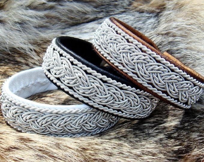 Scandinavian folklore leather cuff, GRANI Lapland pewter Sami bracelet
