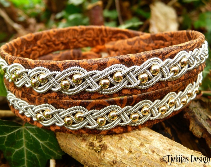 Sami pewter and leather wrap bracelet, BIFROST with 14k gold beads