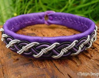 Gothic viking cuff, Sami bracelet, NIFLHEIM leather with black copper and pewter braid