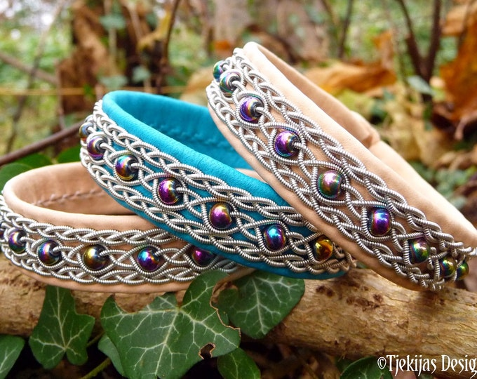 Sapmi bracelet YDUN Sami duodji leather cuff with rainbow hematite