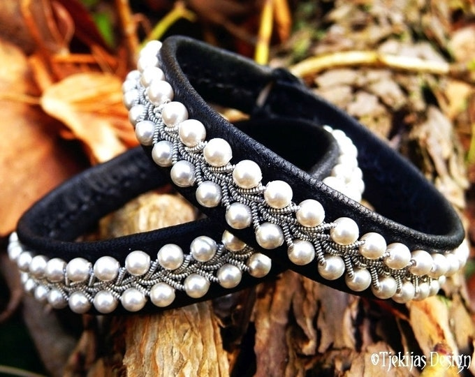 Swedish Sami bracelet, SKINFAXE shieldmaiden tin armband with white pearls on reindeer leather or lambskin