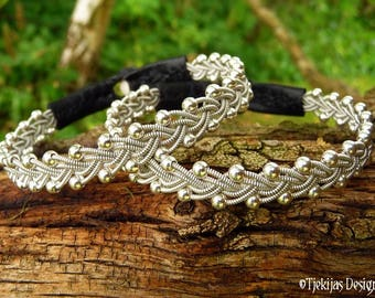 Sami bracelet, RIMFAXE pewter and black leather viking bracelet with sterling silver beads, handcrafted to your wishes
