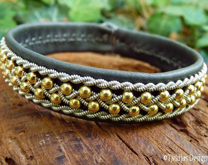 Celtic woman gold cuff, ROSKVA Sami viking bracelet, in gray leather decorated with 14k gold beads woven into pewter braids