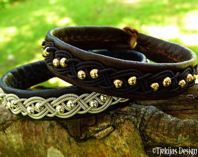 Gothic leather bracelet, Sami BIFROST with 14k gold beads in black copper braid