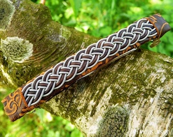 Sami hair clip, FREKI leather viking barrette with pewter and leather braid on brown lambskin