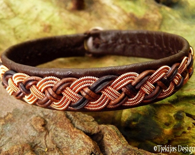 Viking Sami bracelet, VANAGANDR pagan leather cuff, handmade in brown deerskin with copper braid and antler closure