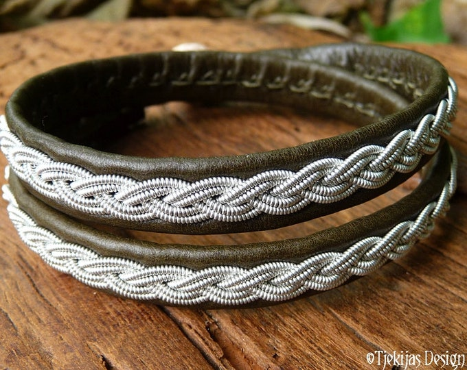 Double wrap Sami bracelet, in olive army green leather, decorated with woven pewter and antler closure, LIDSKJALV celtic viking style