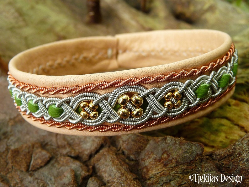 Lapland leather bracelet FREYA 14k gold beads in pewter and image 0