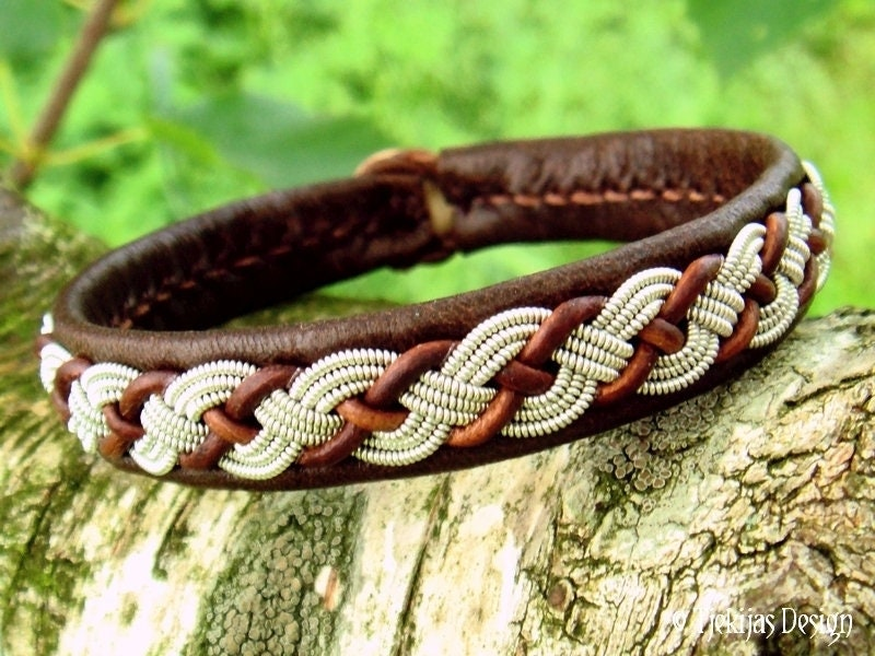 Viking Leather Bracelet Valhal Brown Reindeer Sami Bracelet
