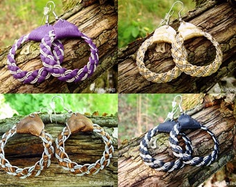 Sami Viking Earrings for real Shieldmaidens | FENRIR Pewter and Leather Hoop Dangle Earrings | Custom Handmade Norse Spirit in Your Color