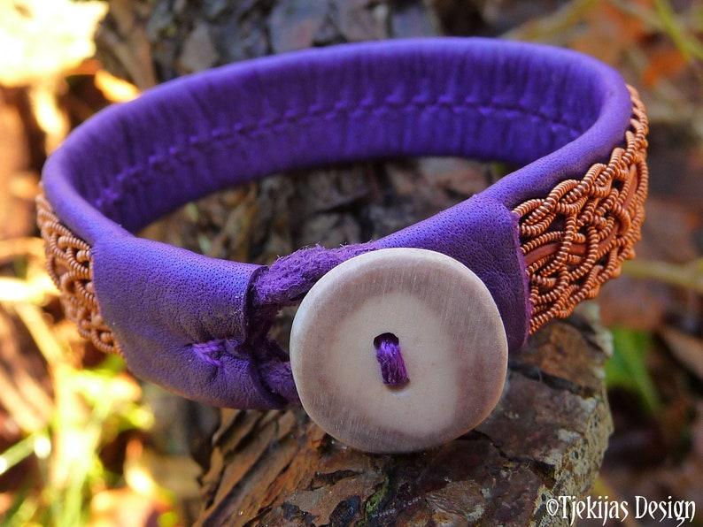 Handcrafted Sami leather bracelet Swedish viking copper cuff NIDHOGG