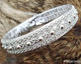 Viking Silver Leather Lapland Bracelet YDUN Swedish Sami Jewelry with Sterling Silver beads and Spun Pewter on silksoft Reindeer Leather