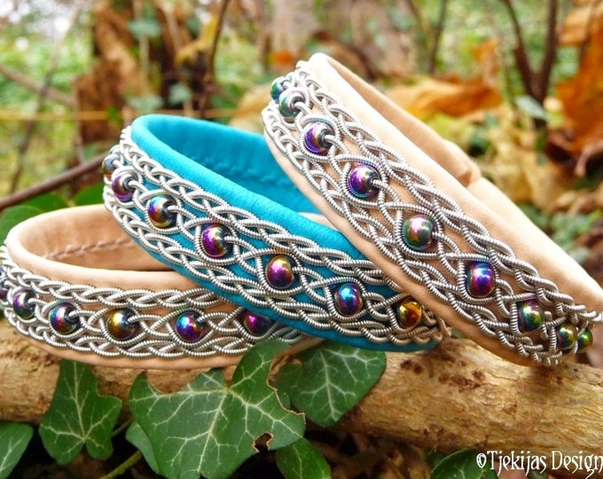 Sami Bracelet YDUN Norse Viking Leather Cuff Handcrafted with Rainbow Hematite beads in Pewter braids