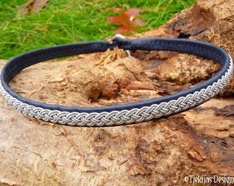 Sami Necklace ASGARD Viking Choker Collar in Navy Blue Reindeer Leather, Spun Pewter Wire Braid and Antler Closure, Custom Handmade 4U