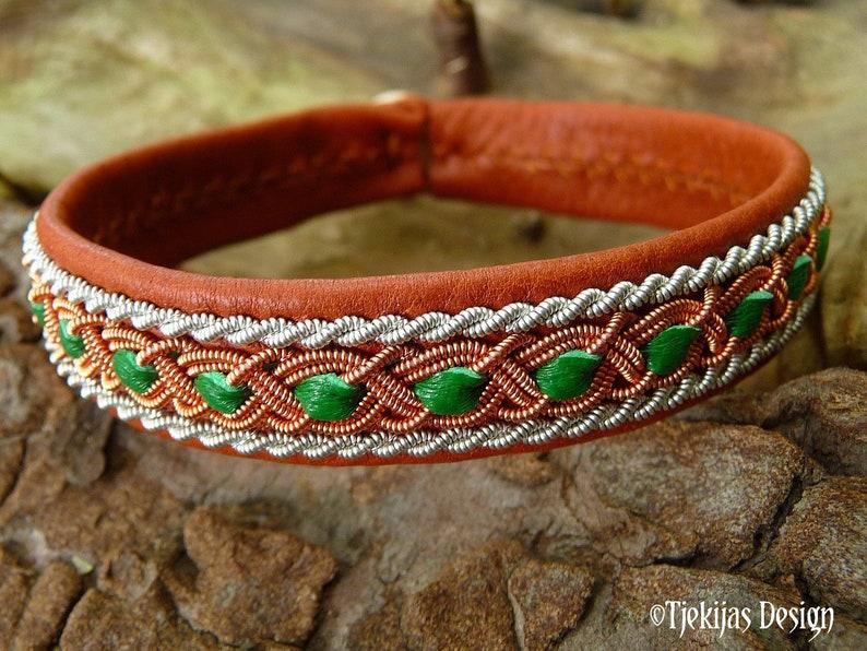 Leather Lapland bracelet FREY copper and pewter braids image 0