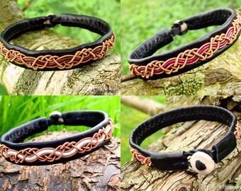 HUGINN Copper Viking Sami Bracelet in Black Leather for Men and Women - Custom Handmade to Your Size and Color
