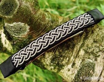 Viking Hair Barrette Clip | Large FREKI Black Leather Hair Clip with Pewter Braid | Handmade Nordic Design