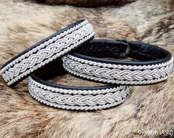 Sami Bracelet for real Vikings and Shieldmaidens MJOLNIR Black Leather Cuff decorated with Pewter Braids