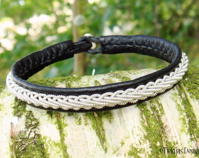 THOR Black Leather Viking Bracelet Custom Handmade Swedish Sami Pewter Braid Reindeer Antler Bracelet - Natural Nordic Elegance