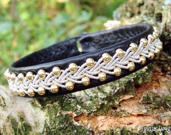 SKINFAXE Lapland Beauty Black Reindeer Leather Sami Bracelet with 14K Goldfilled beads in braided Spun Pewter - Handcrafted Nordic Elegance