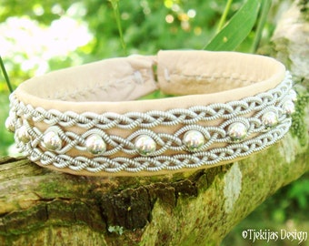 Swedish Sami Bracelet YDUN Nordic Arctic Natural Leather Cuff Bracelet with Sterling Silver Beads in Pewter Braid