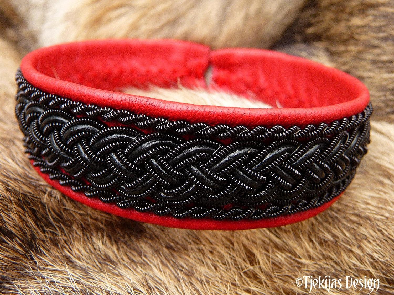 Gothic Sami craft bracelet cuff GIMLE black braids on leather