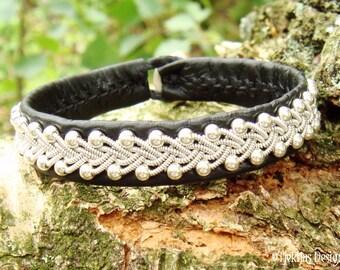 Sami Black Reindeer Leather Bracelet Cuff SKINFAXE Viking Silver Jewelry - Custom Handmade Scandinavian Design
