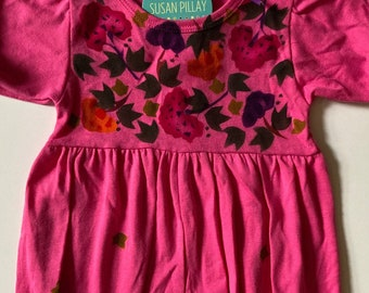 Baby Girl Romper, Chinese Floral, Hand Painted, Soft Natural Cotton