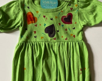 Hearts Baby Girl Romper, Hand Painted, Cuddly Natural Cotton, Hipster, Boho