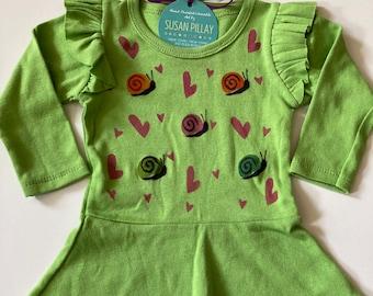 Princess Twirly Dress, Snails & Hearts, Hand Painted and  Handmade, 100% Cotton, BoHo Style