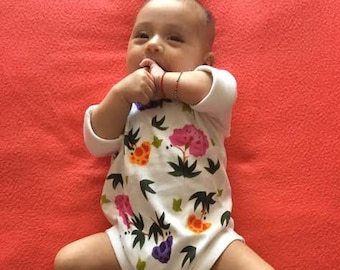Baby Take Out, Hand Painted Baby Girl One Piece, Booties, Chinese Flower, Boho Baby, Natural, Cuddly Cotton, Eco Friendly