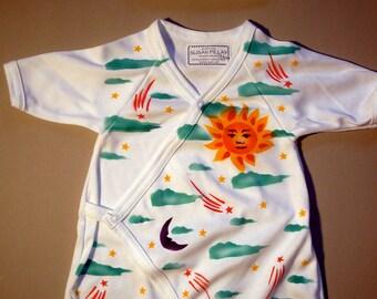 Sun & Moon Baby Kimono, Hand Painted, Newborn Baby Gift, Take Me Home, Hipster Baby