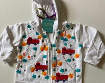 Firetruck Hoodie, Hand Painted, Natural Cotton, Machine Washable, Handmade