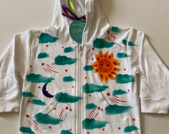 Hoodie, Sun, Moon and Clouds, Hand Painted, 100% Cotton, Machine Washable, Eco Friendly Dye