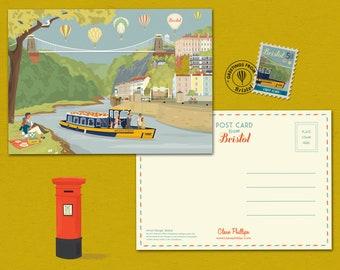 Bristol Postcard Suspension Bridge Avon Gorge Illustration