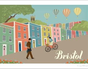 Bristol A4 Giclée Print  -  Rainbow Houses