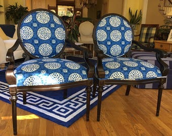 Superieur Pair Of Contemporary French Style Chairs W/Oval Backs   Totally Refurbished    Shipping Varies