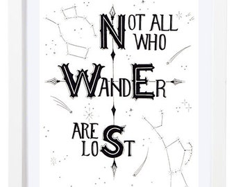 Not All Who Wander Are Lost Print - Black and White Print - LOTR Art - Compass Art - Compass Print - Wanderer - Quote