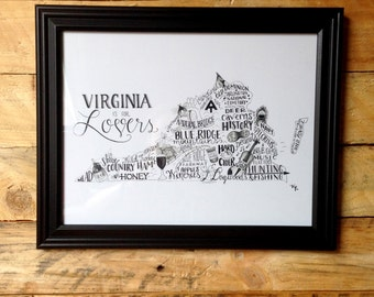 Virginia - Illustrated States Print - 10x13