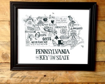 Pennsylvania - Illustrated States Print - 10x13