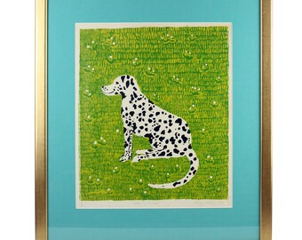 Original 1970's Vintage Screen Print 'Spotty in the Grass' Dalmatian by Penny Melini  - FREE UK SHIPPING