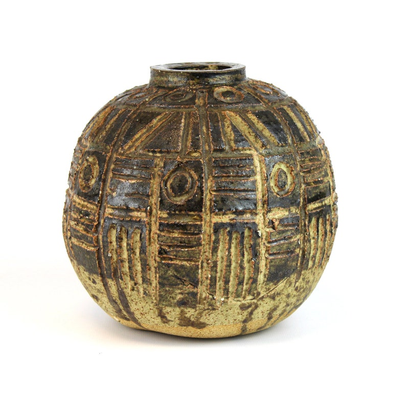 1970's Rustic Spherical Vase with Rune/Inca Style Cypher image 0